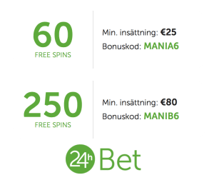 24hBet free spins mania