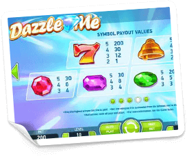 Dazzle-Me-paytable