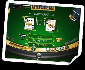 Bild på baccarat bordet med olika spelalternativ.