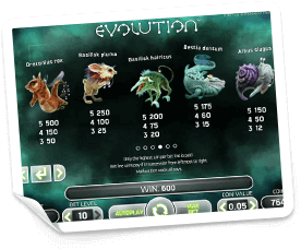 Evolution-paytable