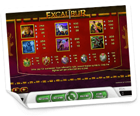 Excalibur-paytable