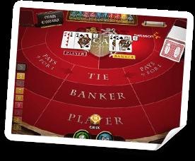 Välj hur du vill spela baccarat, Tie, Bank, Player