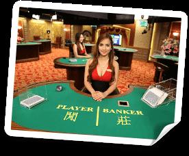 Bild från live baccarat bordet. Dags att välja Player eller bank