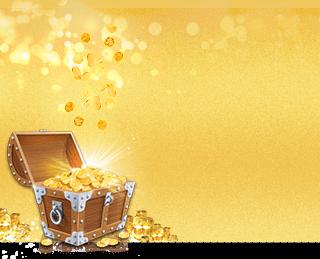 Skattkista och stackar av guldmynt