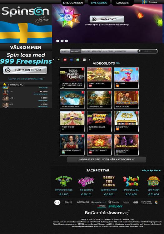 Spinson Casino – Få upp till 999 free spins i bonus på första insättningen!